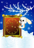 Christmas card with white rabbit — Stock Vector