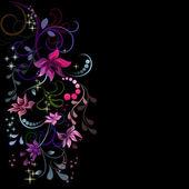 Projekt kolorowe kwiaty z czarnym miejsce. — Wektor stockowy