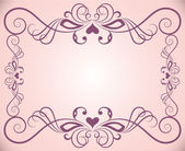 Pink ornate floral frame background with copy space. — Stock Vector