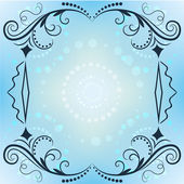 Winter vector ornate frame with blue copy space. — Stock Vector