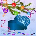 herzförmige Box unter Weihnachtsbaum Zweig — Stockvektor