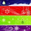 Set of color vector Christmas banners with snowflakes. — Stock Vector