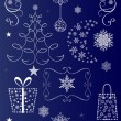 Christmas vector shapes set isolated on dark blue background. — Stock Vector