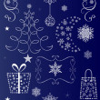 Stock Vector: Christmas vector shapes set isolated on dark blue background.