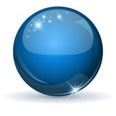 Blue glossy sphere isolated on white. — Stock Vector