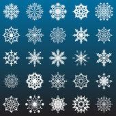 Płatki śniegu wektor zbiory na ciemnym tle niebieskim tle. — Wektor stockowy