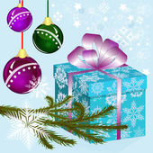 Christmas vector background with blue gift box. — Vecteur