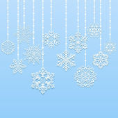 Christmas hanging snowflakes vector background — Stock Vector