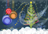 Christmas vector background with Christmas tree — 图库矢量图片