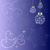 Christmas background with snowflake boubles — Vecteur