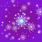 Snowflakes and stars violet square background. — Stock Vector