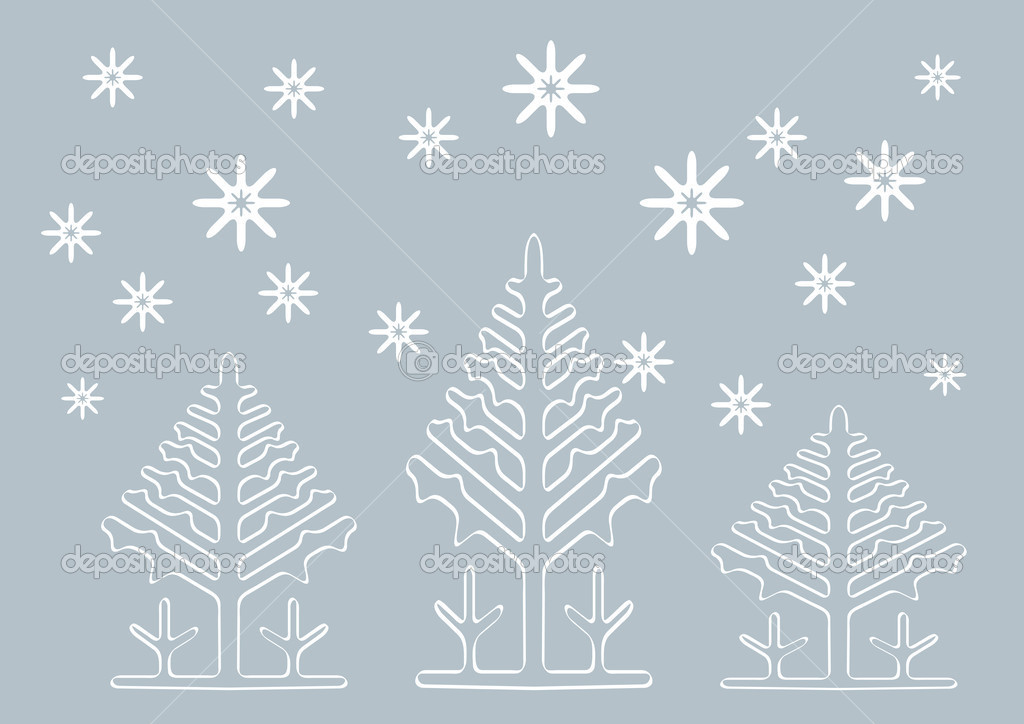 Abstract winter vector background with Christmas tree shapes. — Stock Vector #16265033