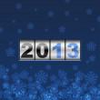 Blue counter 2013 year card with snowflakes. — Stock Vector