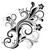 Black and white floral design element — Stock Vector