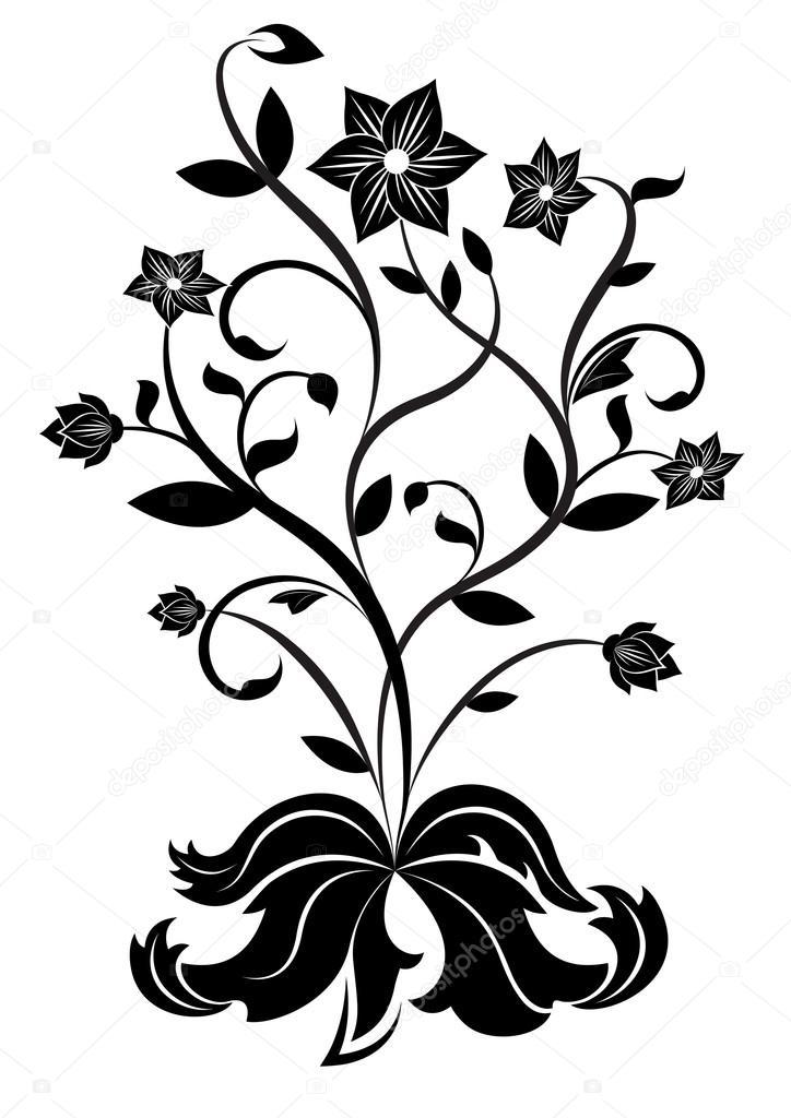 Easy Black And White Flower Design Black And White Flower Design