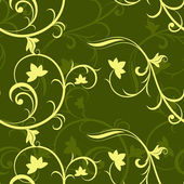 Dark green seamless floral vector pattern. — Stock Vector