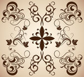 Vintage ornament with floral design elements. — Vector de stock