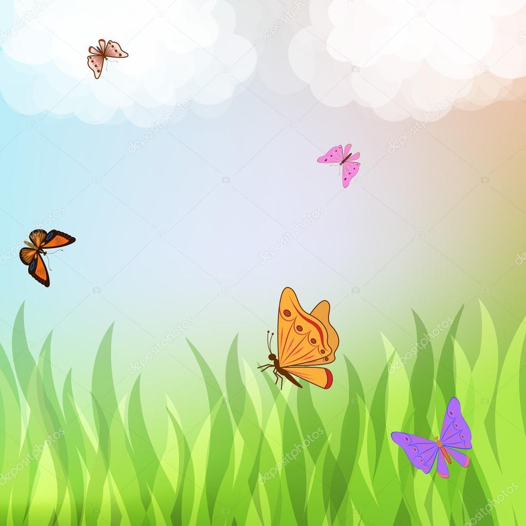 色彩艳丽的蝴蝶飞越绿草 — 图库矢量图片 #18183109