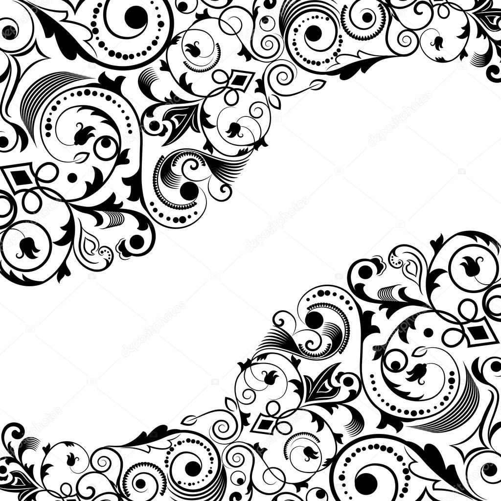 Flower Vector Black And White Corner Black And White Floral Corner