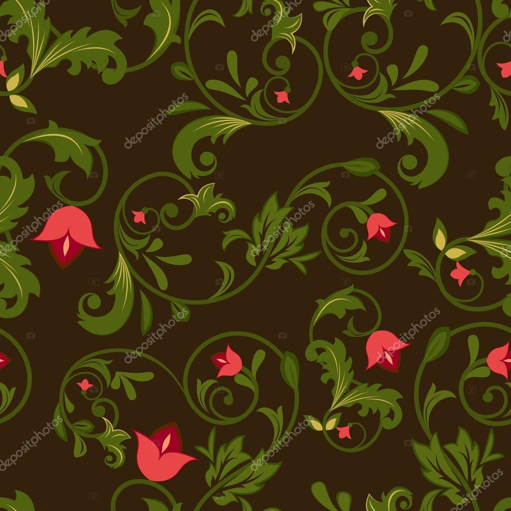 黑暗花卉无缝背景与红色花蕾— 矢量图片作者 lenapix