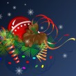 Christmas vector composition with cone and streamers. — Stock Vector