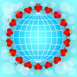 Cartoon red hearts circle around globe. - Stock Vector