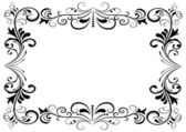 Black and white floral vector frame — Stock Vector
