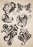Set of vintage floral design elements. — Vecteur