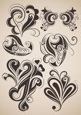 Vintage çiçek tasarım öğeleri kümesi. — Stok Vektör