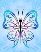 Abstract butterfly outline blue vector background. — Stock Vector