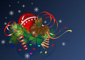 Christmas vector composition with cone and streamers. — ストックベクタ