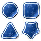 Autocollants noël bleu avec motif flocon de neige. — Vecteur
