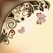 Floral vector background with flying butterflies and copy space. - Image vectorielle