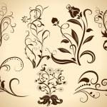 elementos del diseño floral vector vendimia aislados en amarillo centrico — Vector de stock