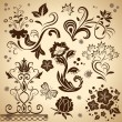 floral vintage vector design elements isolated on yellow backgro — Stock Vector