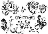 Black and white vector floral design elements. — Stock Vector