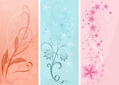 Pastel color vertical floral vector banners. — Stock Vector