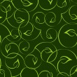 Seamless green leaves curvy vector pattern. — Stock Vector