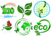 Eco vector set. 6 items on white background. — Stockvector