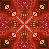 Naadloze vector bruin oosterse symmetrische ornament. — Stockvector
