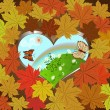 Autumn vector background with frame of maple leaves. — Stock Vector