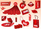 Sat of red sale vector design elements isolated. — Stockvector