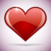 Glossy red heart vector illustration. — 图库矢量图片