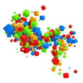 Colorful 3D cubes flow isolated on white background. — Stock Photo