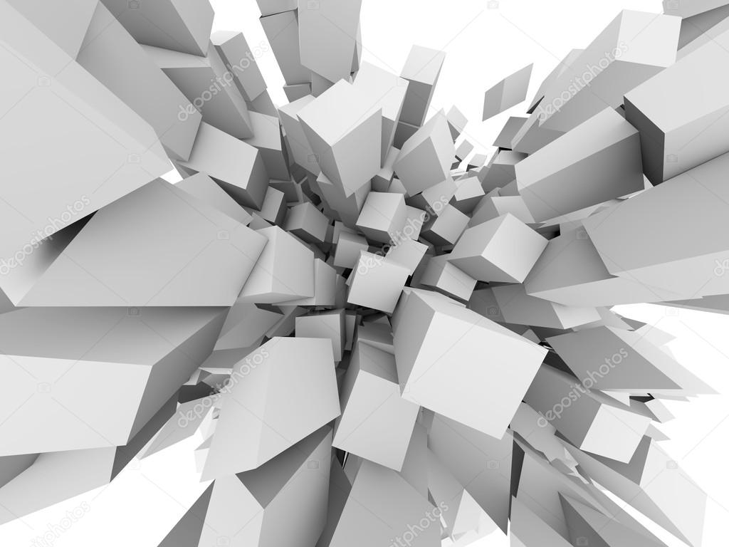Abstract 3D cubes explode background. — Stock Photo © lenapix ...