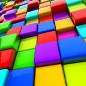 Multicolor 3D cubes abstract background. — Stock Photo