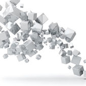 Abstract 3D glossy white cubes background. — 图库照片