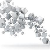 Abstraktní 3d pozadí lesklé bílé kostky. — 图库照片