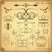 Vintage calligraphic vector design elements isolated on old pape — Stock Vector