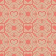 Seamless floral pink pattern with flowers and hearts. — Stock Vector
